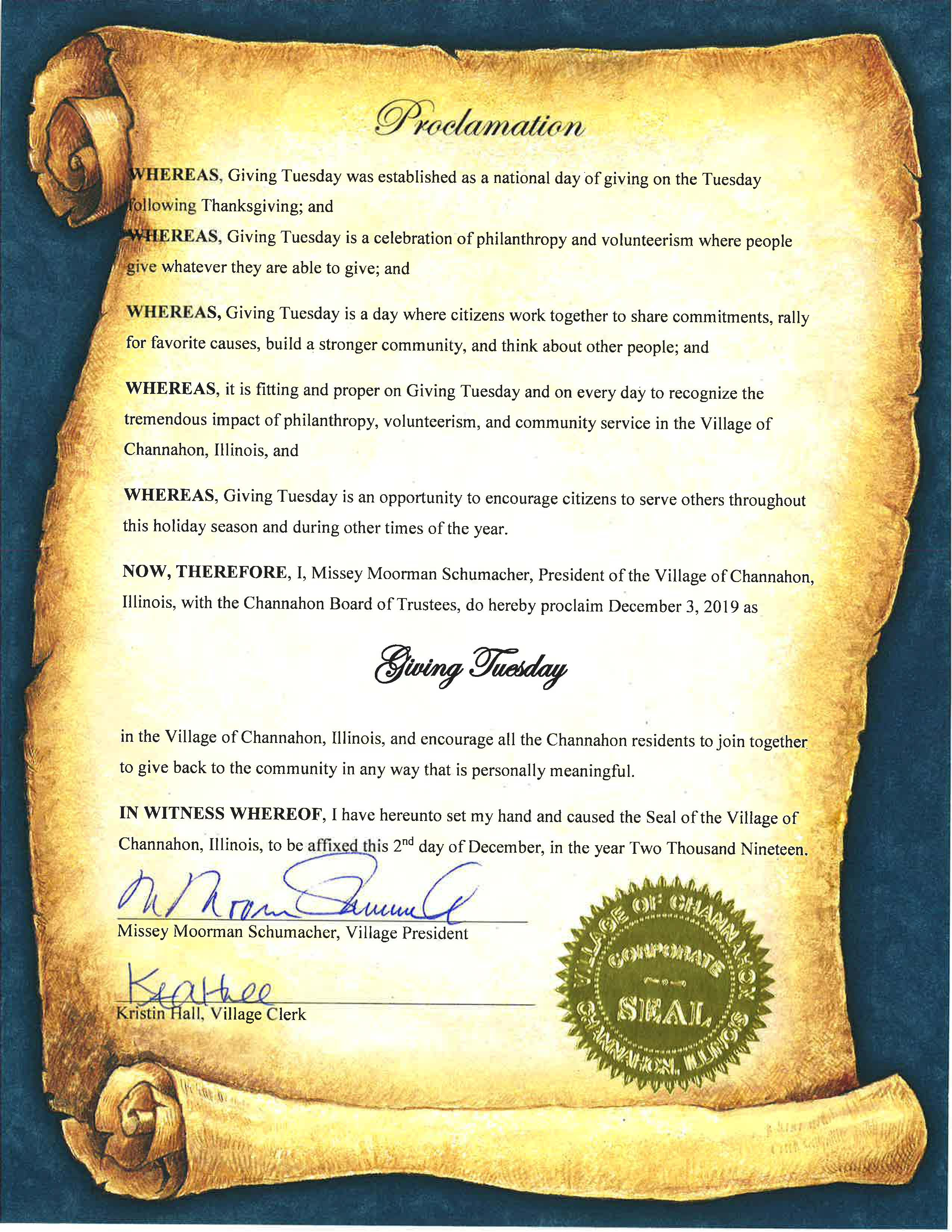 Image of proclamation declaring Tuesday, December 3, 2019 as Giving Tuesday in Channahon.