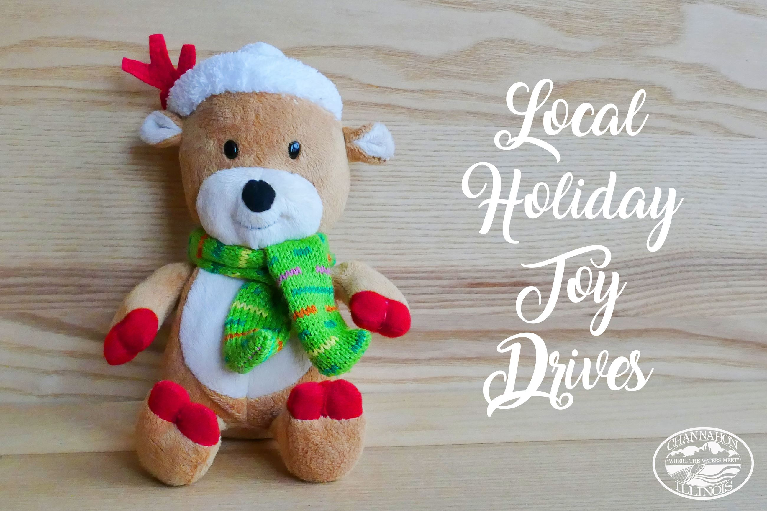 Image of stuffed bear with words: Local Holiday Toy Drives
