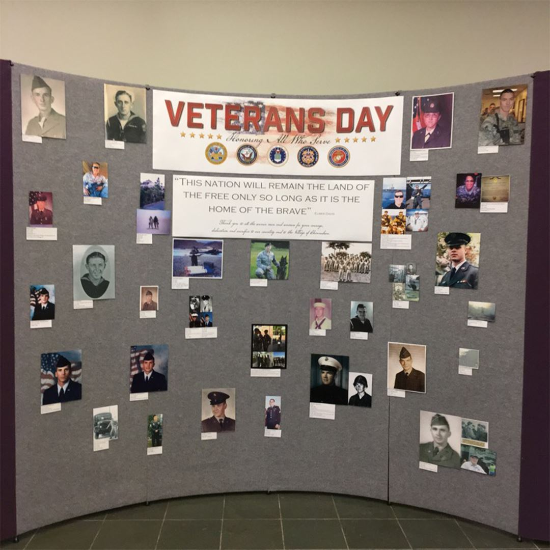 Image of the village's display board honoring veterans for Veterans Day