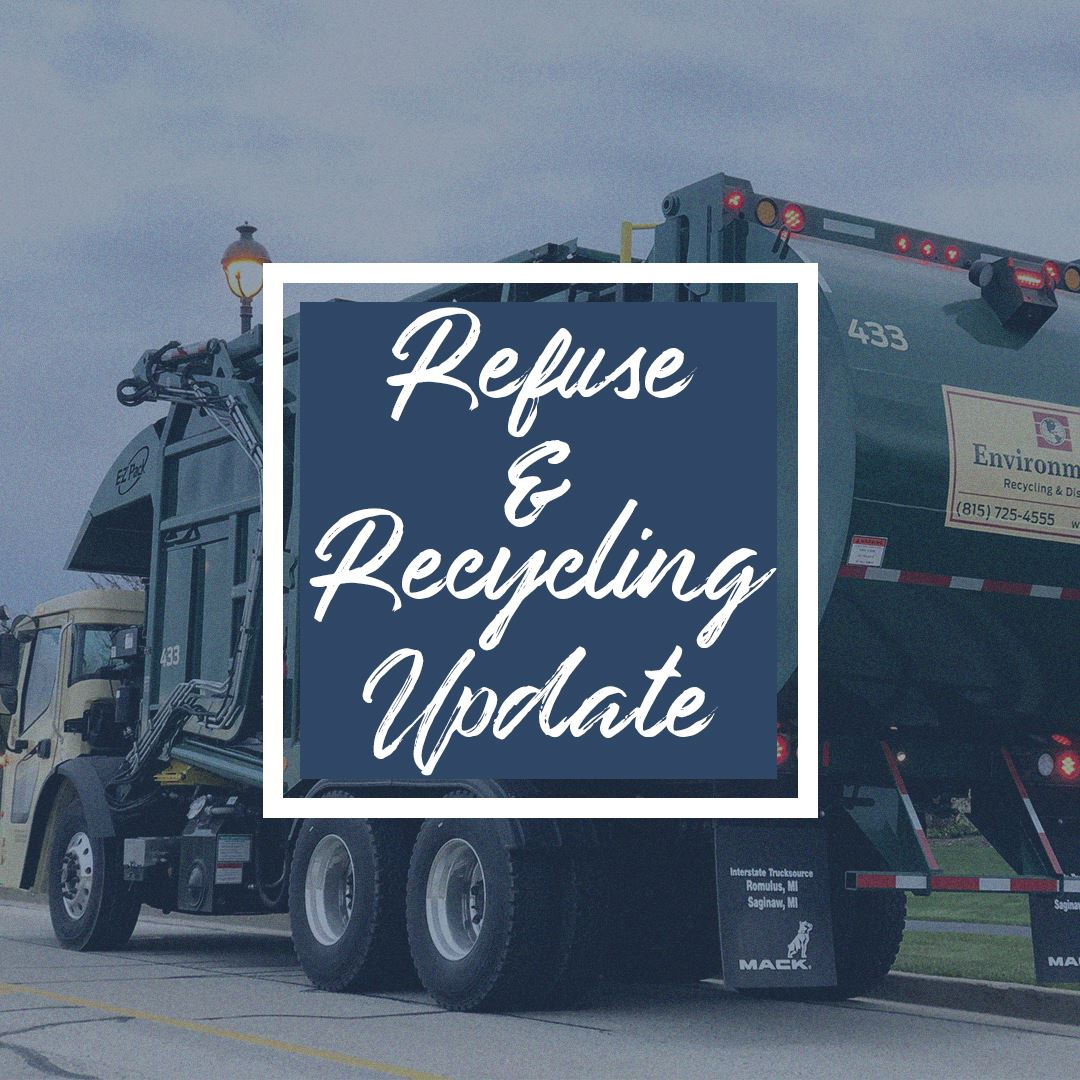 "Image of garbage truck with the words ""Refuse & Recycling Update"""