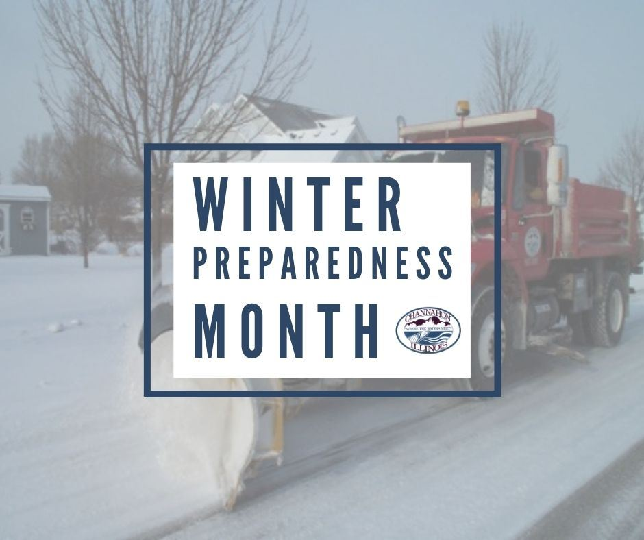 "Image of Channahon snow plow truck with words ""Winter Preparedness Month"""