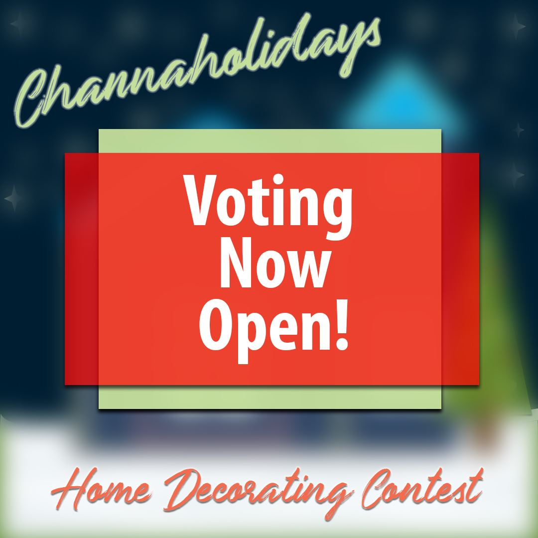 "Image that reads ""Voting Now Open"" for 2020 Holiday Home Decorating Contest"