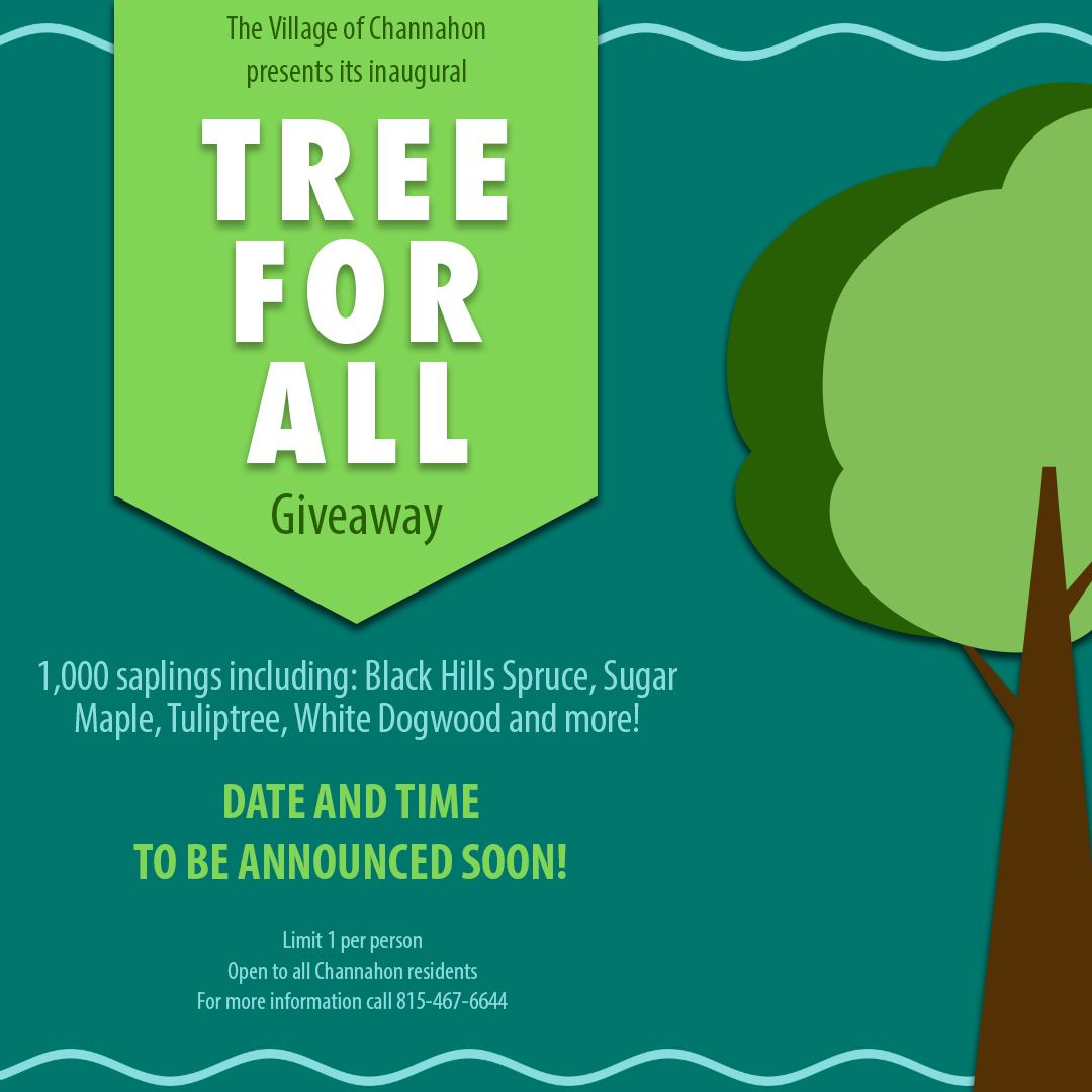 Graphic providing details about the Village's Tree for All tree sapling giveaway