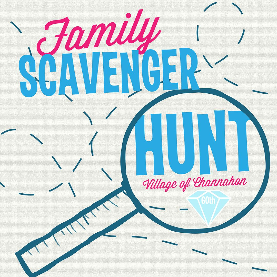 "Map graphic that reads ""Family Scavenger Hunt"""
