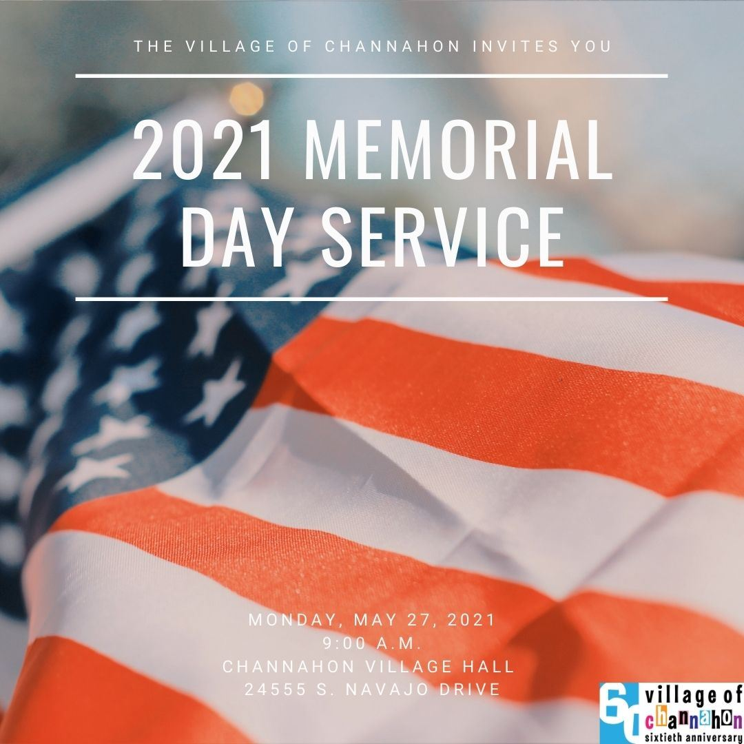 Graphic providing details about Village's Memorial Day Service on 5/31/21 at 9 am